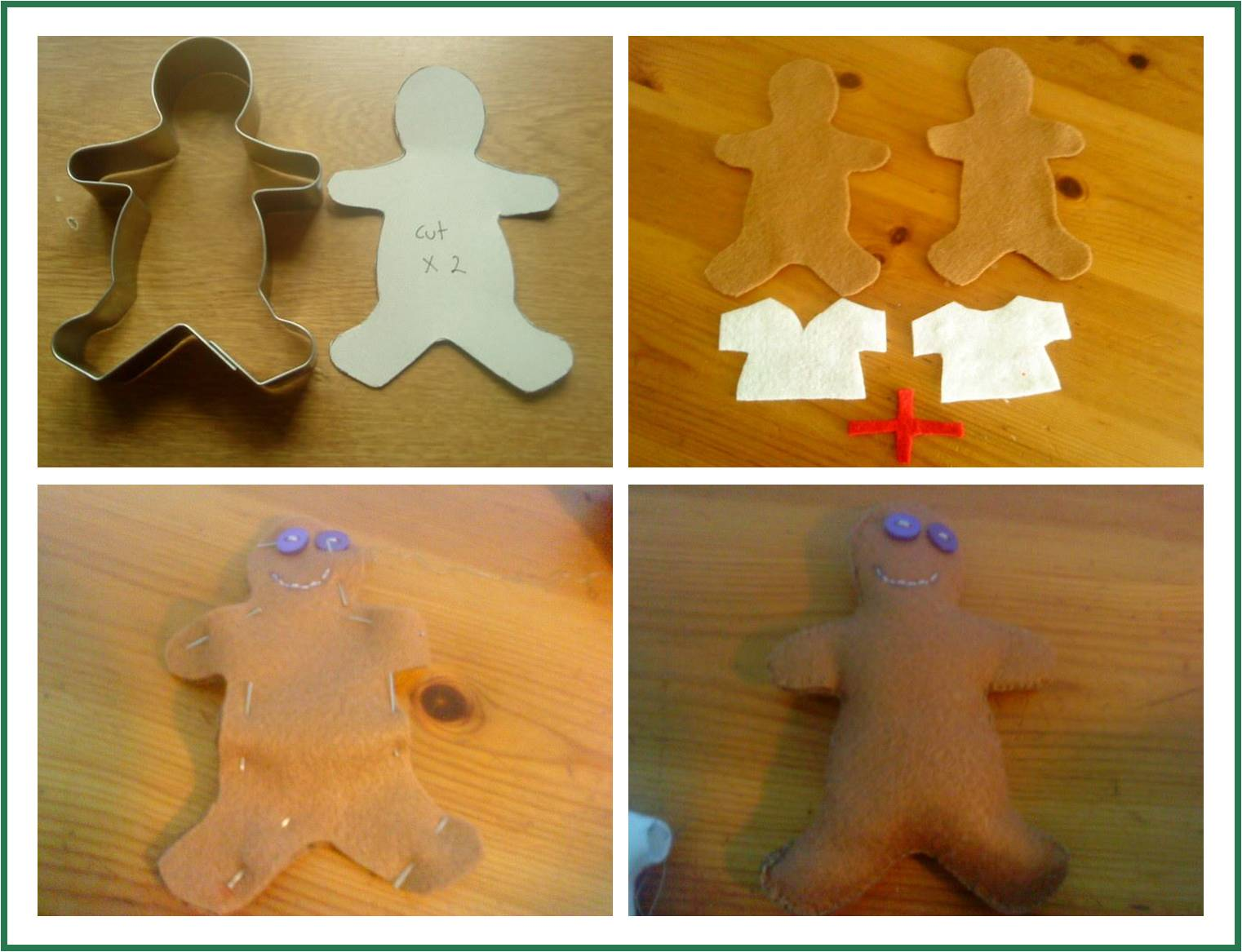 Gingerbead Men - these felt gingerbread men are quick and easy to sew. They make a great addition to a Toy Kitchen, but also look gorgeous as a Chrsitmas tree decoration!