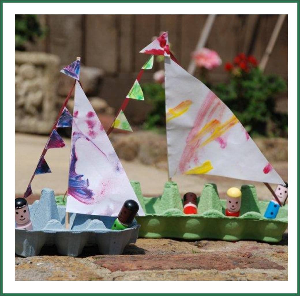 Egg carton boat lesson plans for Egg tray craft ideas
